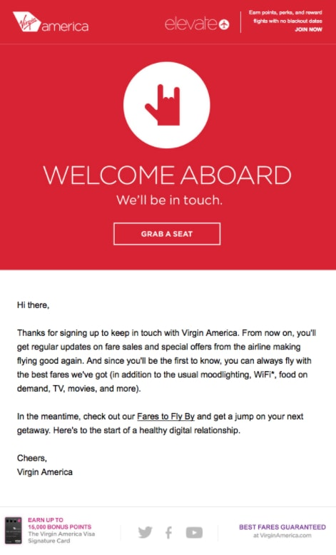 welcome email virgin america