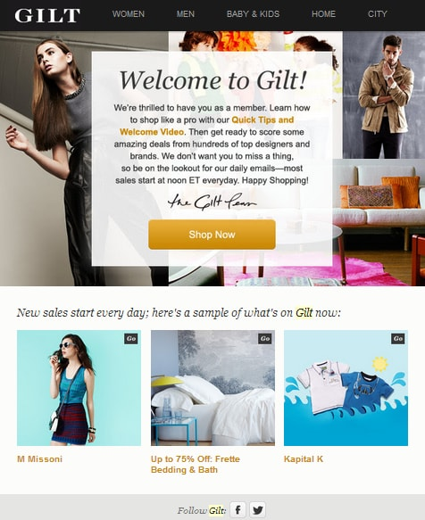 welcome email gilt