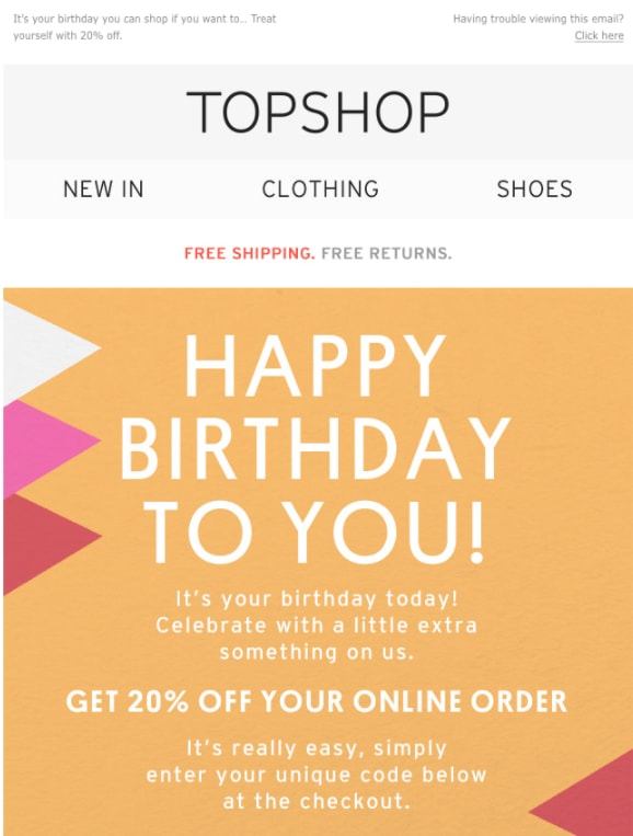 birthday email topshop